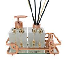Kit lavabo/banheiro luxo cubo branco degradê com bandeja espelhada hara de aço - cor rosé - BF Decorações