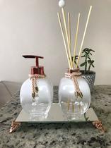 Kit lavabo branco balão 300ml - com bandeja espelhada retangular - Cheirinho De Amor