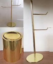 Kit Lavabo Dourado, Papeleira, Toalheiro E Lixeira - Lojasarah