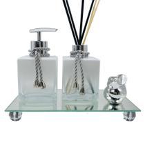 Kit Lavabo Luxo Cubo Branco Degrade Bandeja Espelhada Cor Prata - BF Decorações