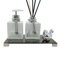 Kit Lavabo Luxo cubo Branco Degrade + Bandeja Espelhada Fume Cor Prata - Bf Decorações
