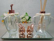 kit Lavabo Saboneteira e Difusor Elegance 280ml  transparente com Bandeja Espelhada valvula Rose - Dbk Decor