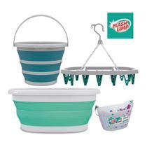 Kit lavanderia cesto roupa 18l retrátil + balde 10l + varal oval 24 prendedor + cesto 36 prendedores - Flash Limp