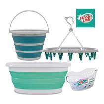 Kit lavanderia cesto roupa 18l retrátil + balde 10l + varal oval 24 prendedor + cesto 48 prendedores - Flash Limp