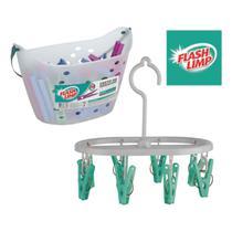 Kit lavanderia de casa com cesto com 36 prendedores + mini varal oval 8 prendedor - pregador - Flashlimp