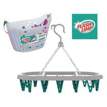 Kit lavanderia de casa com cesto com 36 prendedores + varal oval 24 prendedor - pregador - Flashlimp