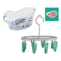 Kit lavanderia de casa com cesto com 48 prendedores + mini varal oval 8 prendedor - pregador - Flashlimp