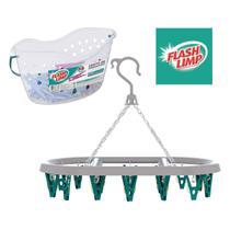 Kit lavanderia de casa com cesto com 48 prendedores + varal oval 24 prendedor - pregador - Flashlimp