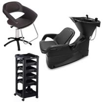 Kit Lavatório Cabelo + Cadeira + Carrinho Dompel C/ Garantia -