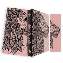 Kit Leão Rosa - Planner + Bíblia Brochura NTLH + Marca Página - Book7