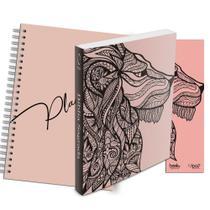Kit Leão Rosa - Planner Capa Lisa + Bíblia Brochura NAA + Marca Página - Book7