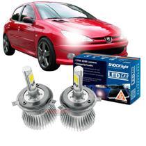 Kit LED 2D Headlight Shocklight tipo xenon para Peugeot 206 Farol Simples - farol alto e baixo H4 35W -