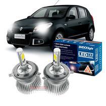Kit LED 2D Headlight Shocklight tipo xenon para Sandero 2011 2012 2013 2014 - farol alto e baixo H4 35/35W -