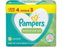 Kit Lenço Umedecido Pampers Aroma de Aloe Vera - 4 Pacotes com 48 Unidades Cada -