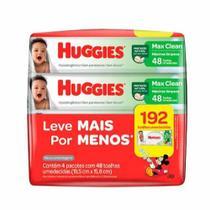 Kit lenços umedecidos turma da monica 4 pacotes com 48 toalhas umedecidas cada huggies max clean -