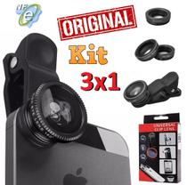 Kit Lentes 3x1 Olho de Peixe Fisheye Wide Macro Para Celular Android Iphone Tablet Universal Original Fotos Vídeo Selfie - Leffa Shop