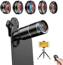 Kit Lentes Celular 6 em 1 Apexel 16x Zoom Telescópio Fisheye Smartphone Camera -