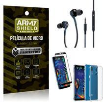 Kit LG K12 K12 Plus Fone Extreme + Capa Anti Impacto + Película 3D - Armyshield -