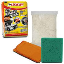 Kit Limpa Car para Limpeza Polimento Automotivo Luxcar 3 em 1 com Flanela Esponja e Estopa -