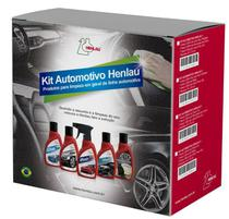 Kit Limpeza Automotiva 1 - Washtec, limpa pneu Gel, Renovador de Couro e 2 flanelas - Henlau -