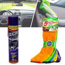 Kit Limpeza Automotiva Flanela Multiuso 5 Cores + Silicone Perfumado Luxcar Spray Lavanda 300ml -