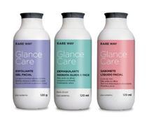 Kit Limpeza de pele cuidado facial Demaquilante Esfoliante Sabonete Liquido Glance Care Rare Way -