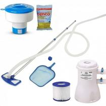 Kit Limpeza para Piscinas Aspirador + Bomba Filtro 110v + Flutuador + 3 Pastilhas Cloro  Mor -