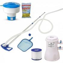 Kit Limpeza para Piscinas Aspirador + Bomba Filtro 220v + Flutuador + 3 Pastilhas Cloro  Mor -