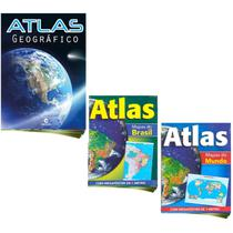 Kit Lista Escolar Atlas Brasil Mundi Geográfico Mega Pôster - Culturama