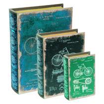 Kit Livro Caixa em Mdf e Canvas- 3 peças - Mart