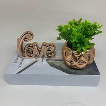 kit livro decorativo, vaso 3D rose gold e palavra love - Interponte