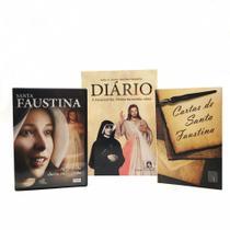 Kit livro diario santa faustina + cartas + dvd filme santa faustina - Armazem