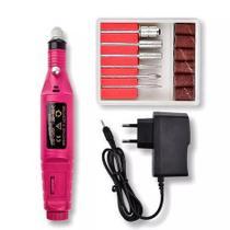 Kit Lixadeira Elétrica Lixa Motor Polidora Unha Gel Fibra Profissional Bivolt Portátil Rosa -