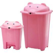 Kit lixeira e cesto urso rosa - Adoleta Bebe
