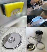 Kit Lixeira Embutir 5lt M, Dosador E Porta Esponja Em Inox 304 - Lojasarah
