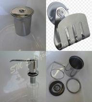 Kit Lixeira Embutir 8l + Dosador + Porta Esponja Inox 304 - Lojasarah