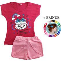 kit lote 3 conjuntos infantil menina roupa infantil feminina 1 ao 8 - Nacional
