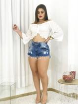 Kit Lote 3 Shorts Jeans Feminino Cintura Alta Destroyed Revenda Barato - Fort Moda