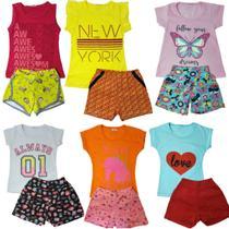 kit lote 6 conjuntos infantil menina roupa infantil feminino atacado 1 ao 10 - Nacional