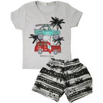 Kit lote 8 peças roupa infantil 4 conjuntos menino verão atacado 4/6/8/10 anos - Nacional