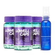 Kit Lowell Caps Suplemento Alimentar 90 Caps + Tônico Antiqueda 60ml - Lowell