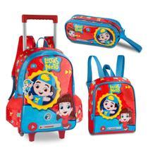 Kit luccas neto mochila escolar rodinhas  com lancheira e estojo - Clio