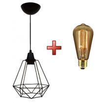 Kit luminária pendente aramado class com lâmpada filamento carbono - UTRON