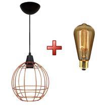 Kit luminária pendente aramado curve com lâmpada filamento carbono - Utron