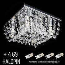 Kit Lustre Cristal Legitimo Plafon Acompanha 4 Halopin Led G9 Quadrado 20x20x8cm - Jp Kyoto20kit - Hunter