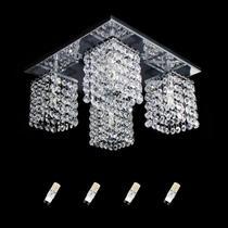 Kit Lustre de Cristal Original com Base em Aço Inox Polido com 4 Lâmpadas Halopin G9 Branco Frio 110v - Hunter