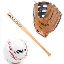 Kit Luva Baseball Tam. 12,5  + Bola Tam. 9  + Taco Tam. 30  Vollo Sports -