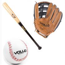 Kit Luva Baseball Tam. 12,5  + Bola Tam. 9  + Taco Tam. 30  Vollo  Vollo Sports -