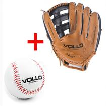 Kit Luva Baseball Tam. 12,5  Cor Marrom + Bola Tam. 9  Vollo  Vollo Sports -