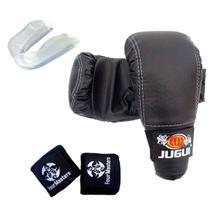 Kit Luva Bate Saco + Bandagem + Protetor bucal Lutas MMA - Four Masters